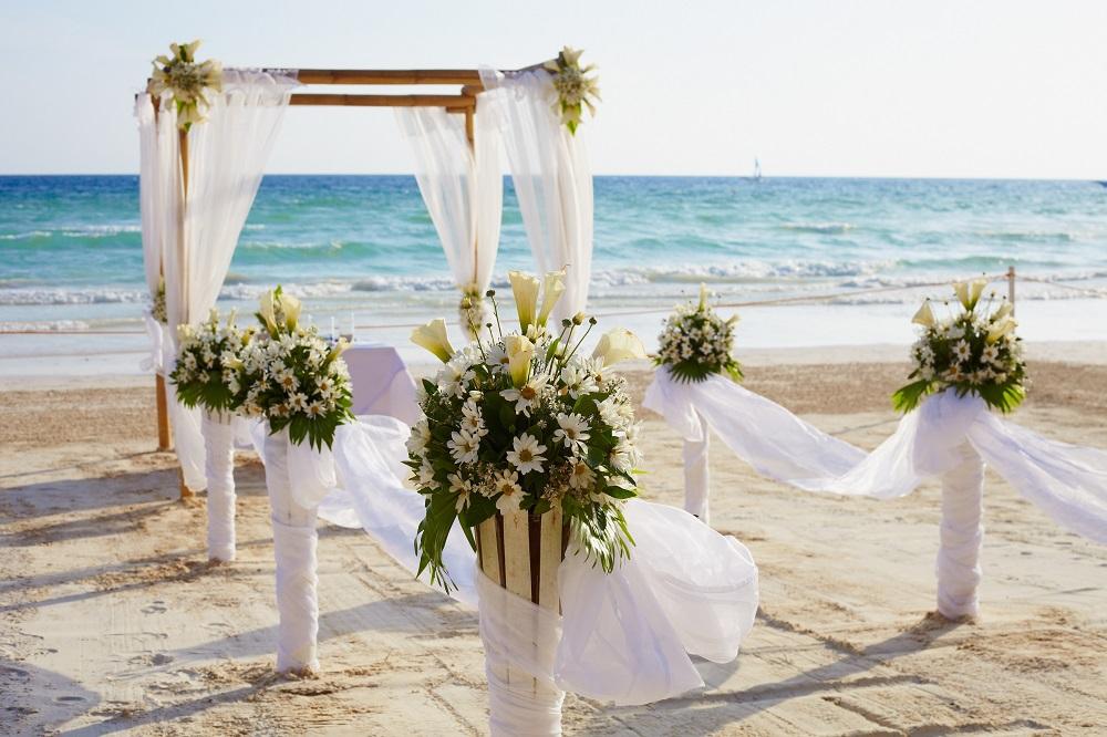 Wedding arch on beach